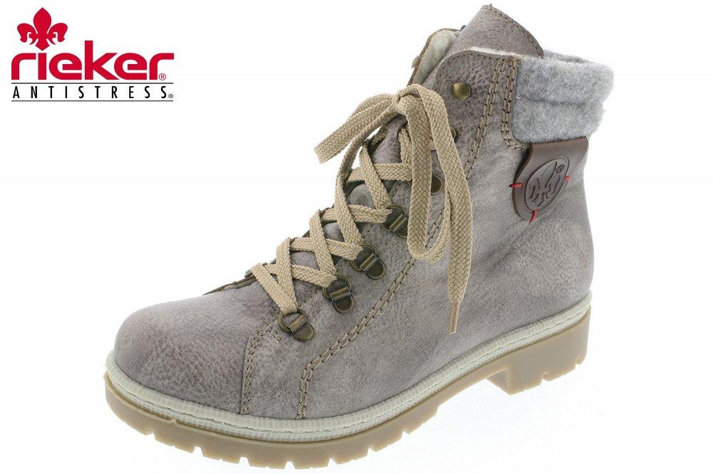 Rieker Damen Boots Hell Grau Winter Stiefel Schuhe gefüttert Y9430 ... 7067fb1027