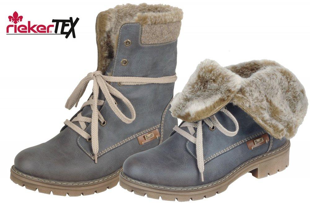Details zu Rieker Tex Damen Boots Blau Grau Winter Stiefel Schuhe gefüttert Y9122 45 NEU