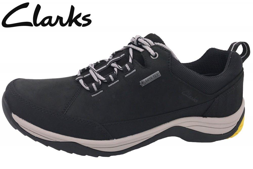 Details zu Clarks Baystone Run GTX Gore Tex Herren Schuh Schwarz Nubuk NEU 26127436