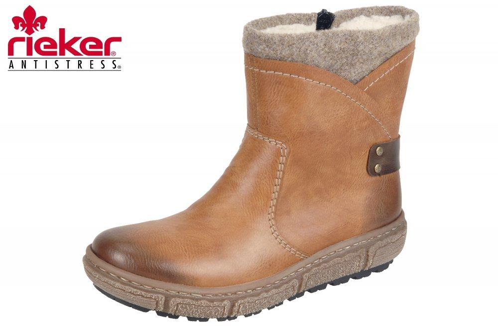 Rieker Damen Stiefel Braun Winter Boots Schuhe gefüttert xI1Xs