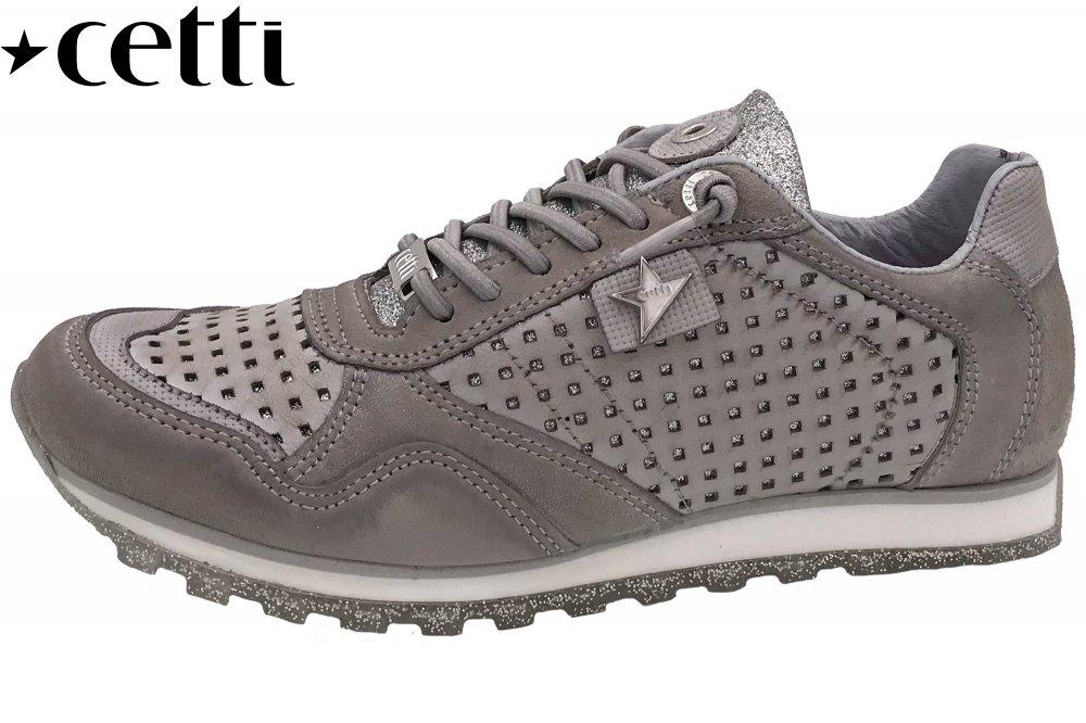 354a398e083085 Cetti Damen Sneaker Grau Echt Leder Schuhe NEU C848 nature glitter ...