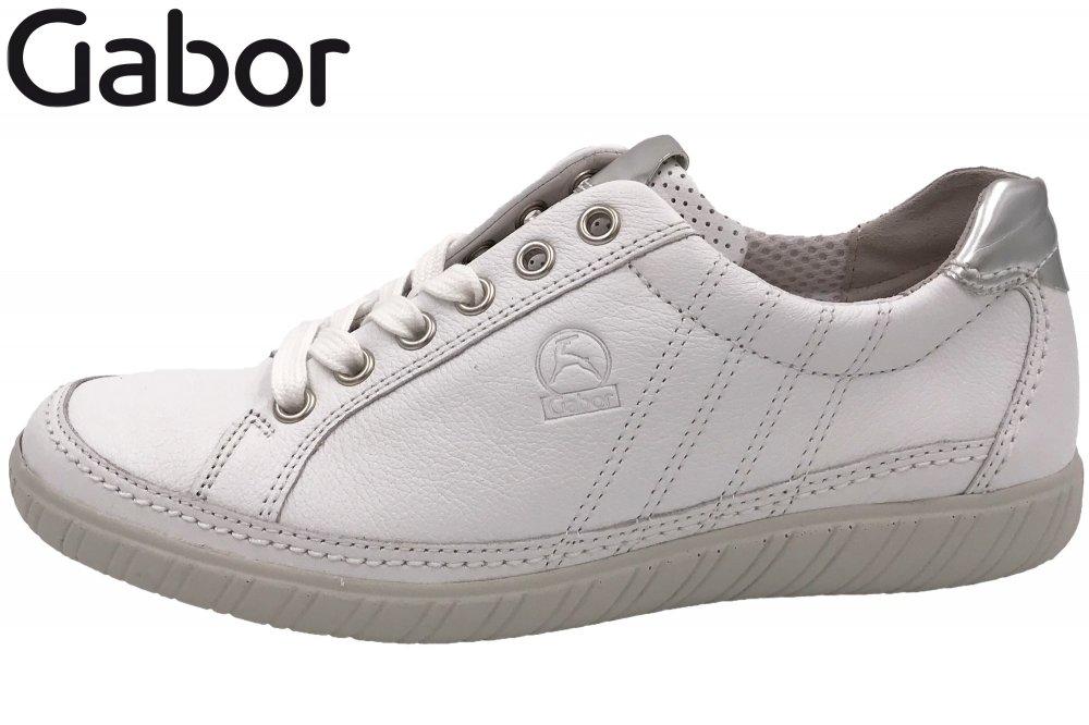Details zu Gabor Comfort Damen Schuhe Sneaker Weiß Leder Weite G Wechselfußbett 86.458.50